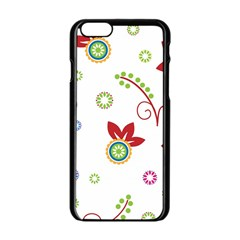 Colorful Floral Wallpaper Background Pattern Apple Iphone 6/6s Black Enamel Case by Amaryn4rt
