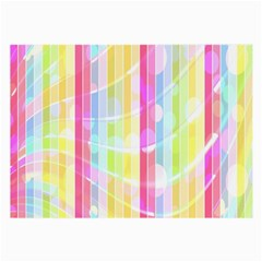 Colorful Abstract Stripes Circles And Waves Wallpaper Background Large Glasses Cloth (2 Side) by Amaryn4rt