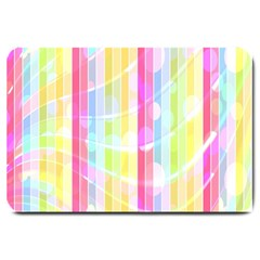 Colorful Abstract Stripes Circles And Waves Wallpaper Background Large Doormat  by Amaryn4rt