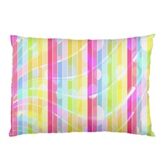 Colorful Abstract Stripes Circles And Waves Wallpaper Background Pillow Case by Amaryn4rt