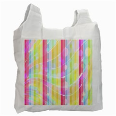Colorful Abstract Stripes Circles And Waves Wallpaper Background Recycle Bag (one Side) by Amaryn4rt