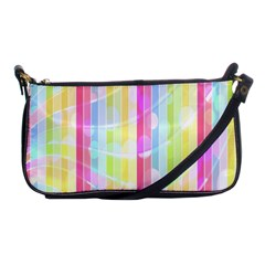 Colorful Abstract Stripes Circles And Waves Wallpaper Background Shoulder Clutch Bags by Amaryn4rt