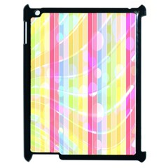 Colorful Abstract Stripes Circles And Waves Wallpaper Background Apple Ipad 2 Case (black) by Amaryn4rt