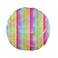 Colorful Abstract Stripes Circles And Waves Wallpaper Background Standard 15  Premium Round Cushions by Amaryn4rt