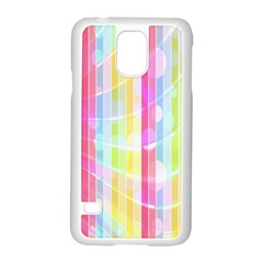 Colorful Abstract Stripes Circles And Waves Wallpaper Background Samsung Galaxy S5 Case (white) by Amaryn4rt