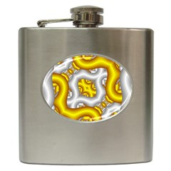 Fractal Background With Golden And Silver Pipes Hip Flask (6 Oz) by Amaryn4rt