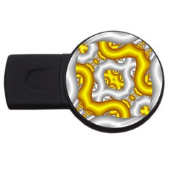 Fractal Background With Golden And Silver Pipes Usb Flash Drive Round (4 Gb) by Amaryn4rt