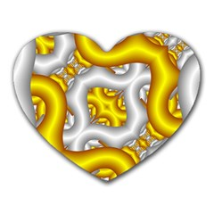 Fractal Background With Golden And Silver Pipes Heart Mousepads by Amaryn4rt