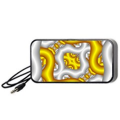 Fractal Background With Golden And Silver Pipes Portable Speaker (black) by Amaryn4rt