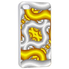Fractal Background With Golden And Silver Pipes Apple Iphone 4/4s Seamless Case (white) by Amaryn4rt