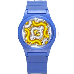 Fractal Background With Golden And Silver Pipes Round Plastic Sport Watch (s) by Amaryn4rt