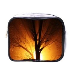 Rays Of Light Tree In Fog At Night Mini Toiletries Bags by Amaryn4rt