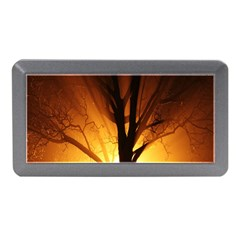 Rays Of Light Tree In Fog At Night Memory Card Reader (Mini)
