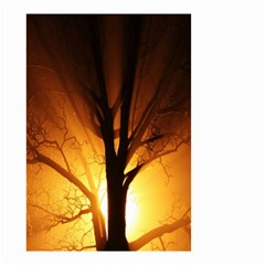 Rays Of Light Tree In Fog At Night Small Garden Flag (two Sides) by Amaryn4rt