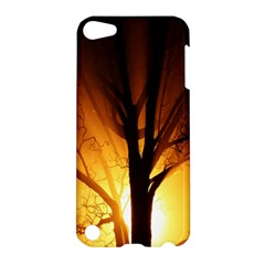 Rays Of Light Tree In Fog At Night Apple Ipod Touch 5 Hardshell Case by Amaryn4rt