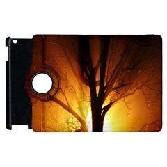 Rays Of Light Tree In Fog At Night Apple Ipad 2 Flip 360 Case by Amaryn4rt