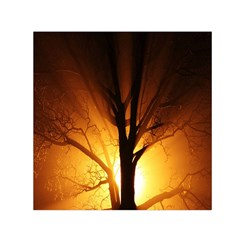 Rays Of Light Tree In Fog At Night Small Satin Scarf (square) by Amaryn4rt