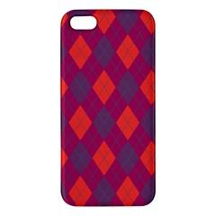 Plaid Pattern Apple Iphone 5 Premium Hardshell Case by Valentinaart