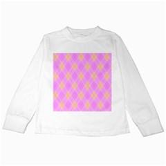 Plaid Pattern Kids Long Sleeve T Shirts by Valentinaart