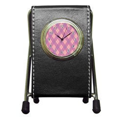 Plaid Pattern Pen Holder Desk Clocks by Valentinaart