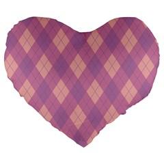 Plaid Pattern Large 19  Premium Flano Heart Shape Cushions by Valentinaart
