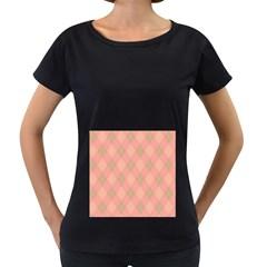 Plaid Pattern Women s Loose Fit T Shirt (black) by Valentinaart