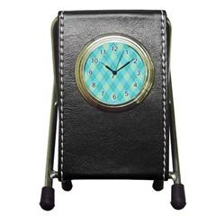 Plaid Pattern Pen Holder Desk Clocks by Valentinaart