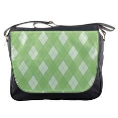 Plaid Pattern Messenger Bags by Valentinaart