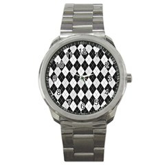Plaid Pattern Sport Metal Watch by Valentinaart