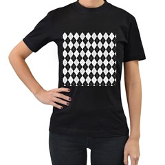 Plaid Pattern Women s T Shirt (black) by Valentinaart