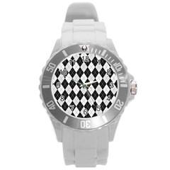 Plaid Pattern Round Plastic Sport Watch (l) by Valentinaart