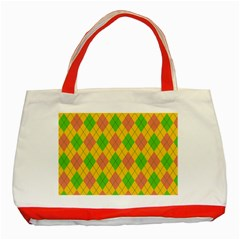 Plaid Pattern Classic Tote Bag (red) by Valentinaart