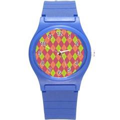 Plaid Pattern Round Plastic Sport Watch (s) by Valentinaart