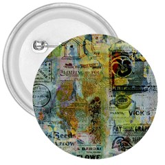Old Newspaper And Gold Acryl Painting Collage 3  Buttons by EDDArt