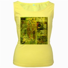 Old Newspaper And Gold Acryl Painting Collage Women s Yellow Tank Top