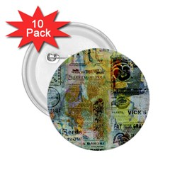 Old Newspaper And Gold Acryl Painting Collage 2 25  Buttons (10 Pack)  by EDDArt