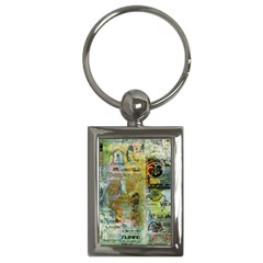 Old Newspaper And Gold Acryl Painting Collage Key Chains (rectangle)  by EDDArt
