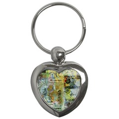 Old Newspaper And Gold Acryl Painting Collage Key Chains (heart)  by EDDArt