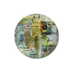 Old Newspaper And Gold Acryl Painting Collage Magnet 3  (round) by EDDArt