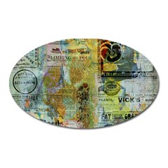 Old Newspaper And Gold Acryl Painting Collage Oval Magnet by EDDArt