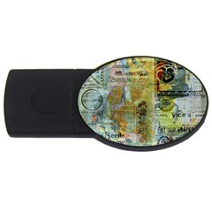 Old Newspaper And Gold Acryl Painting Collage Usb Flash Drive Oval (2 Gb) by EDDArt