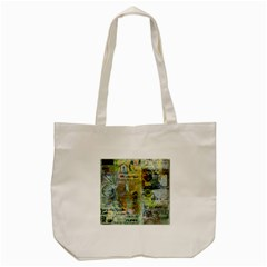 Old Newspaper And Gold Acryl Painting Collage Tote Bag (cream) by EDDArt