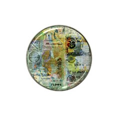 Old Newspaper And Gold Acryl Painting Collage Hat Clip Ball Marker by EDDArt