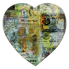 Old Newspaper And Gold Acryl Painting Collage Jigsaw Puzzle (heart) by EDDArt