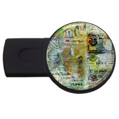 Old Newspaper And Gold Acryl Painting Collage Usb Flash Drive Round (4 Gb) by EDDArt