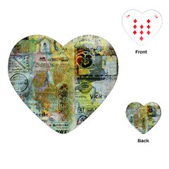 Old Newspaper And Gold Acryl Painting Collage Playing Cards (heart)  by EDDArt