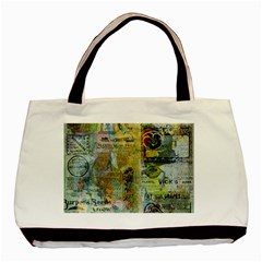 Old Newspaper And Gold Acryl Painting Collage Basic Tote Bag by EDDArt