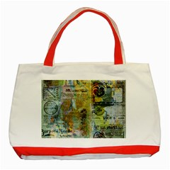 Old Newspaper And Gold Acryl Painting Collage Classic Tote Bag (red) by EDDArt
