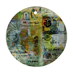 Old Newspaper And Gold Acryl Painting Collage Round Ornament (two Sides) by EDDArt