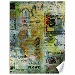 Old Newspaper And Gold Acryl Painting Collage Canvas 18  X 24   by EDDArt